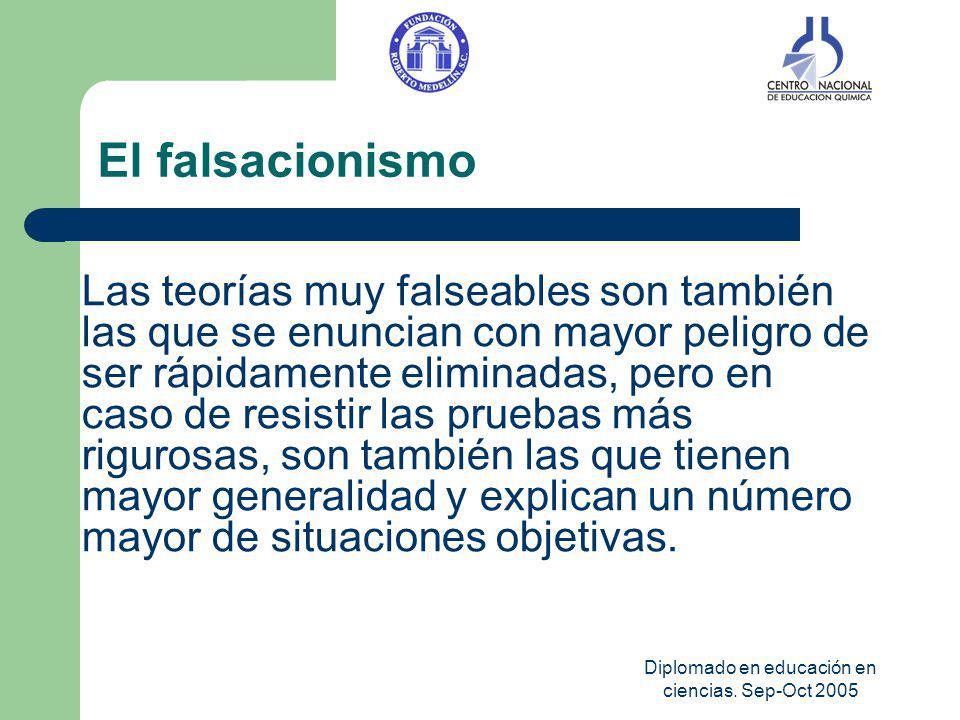 Diplomado en educación en ciencias. Sep-Oct 2005 El falsacionismo Las teorías muy falseables son también las que se enuncian con mayor peligro de ser