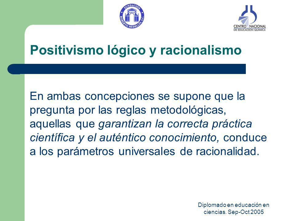 Diplomado en educación en ciencias. Sep-Oct 2005 Positivismo lógico y racionalismo En ambas concepciones se supone que la pregunta por las reglas meto
