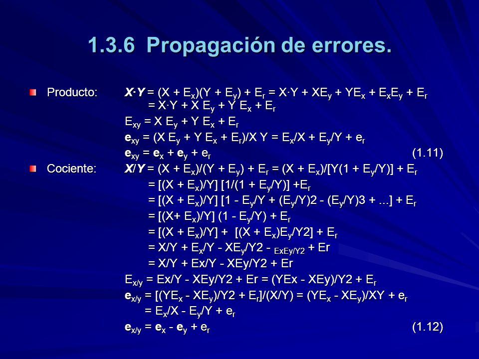 1.3.6 Propagación de errores. Producto:X·Y = (X + E x )(Y + E y ) + E r = X·Y + XE y + YE x + E x E y + E r = X·Y + X E y + Y E x + E r E xy = X E y +