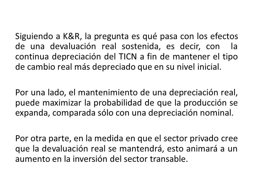 Siguiendo a K&R, la pregunta es qué pasa con los efectos de una devaluación real sostenida, es decir, con la continua depreciación del TICN a fin de mantener el tipo de cambio real más depreciado que en su nivel inicial.