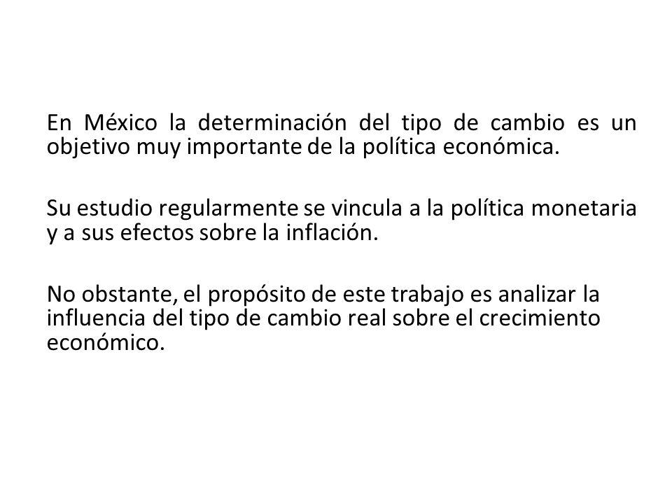 En México la determinación del tipo de cambio es un objetivo muy importante de la política económica.