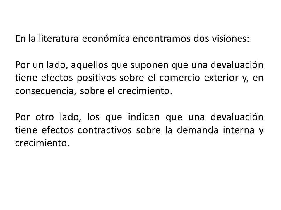 En la literatura económica encontramos dos visiones: Por un lado, aquellos que suponen que una devaluación tiene efectos positivos sobre el comercio exterior y, en consecuencia, sobre el crecimiento.