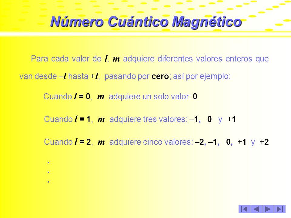 Número Cuántico Magnético El número cuántico magnético, se denota con una letra m y sus valores indican las orientaciones que tienen los orbitales en el espacio.