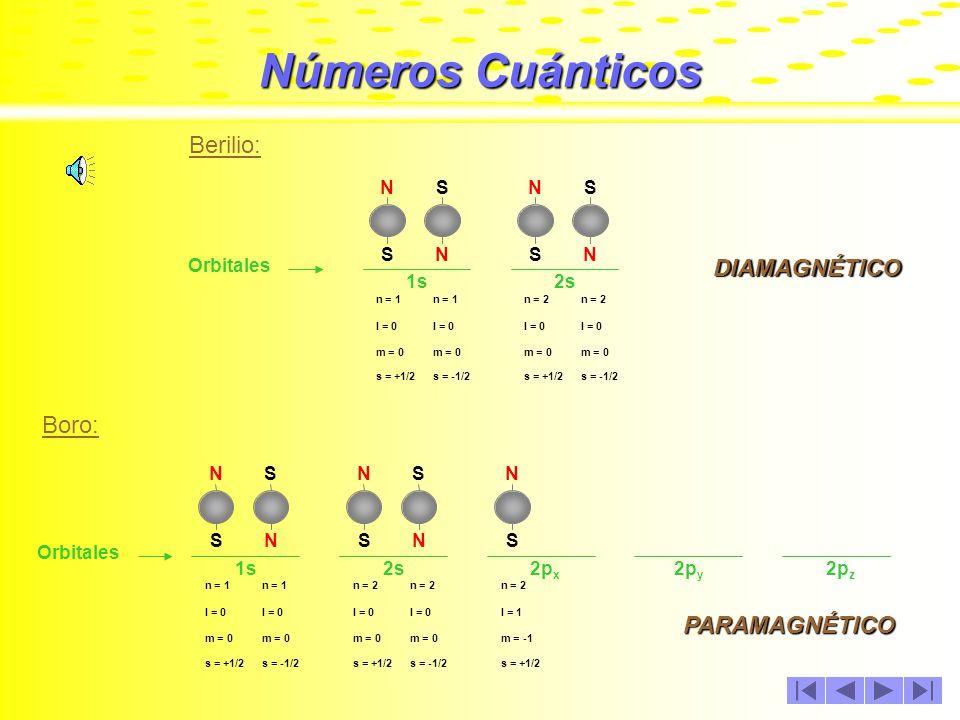 Números Cuánticos Litio: Orbitales 1s N S N S Números cuánticos de los electrones n = 1 l = 0 m = 0 s = +1/2s = -1/2 2s N S n = 2 l = 0 m = 0 s = +1/2 PARAMAGNÉTICO