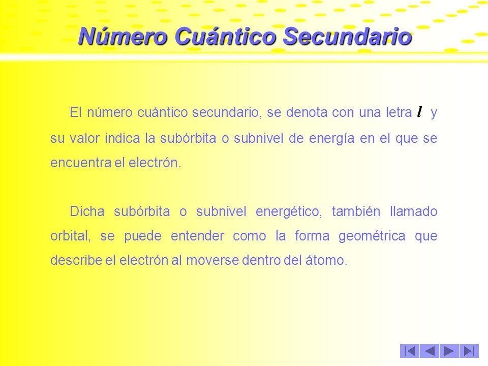 Número Cuántico Principal Los valores que adquiere n, son números enteros mayores de cero; así por ejemplo: Cuando n = 1, el electrón se encuentra en la órbita 1 Cuando n = 2, el electrón se encuentra en la órbita 2 Cuando n = 3, el electrón se encuentra en la órbita 3.