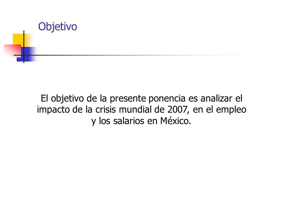Objetivo El objetivo de la presente ponencia es analizar el impacto de la crisis mundial de 2007, en el empleo y los salarios en México.