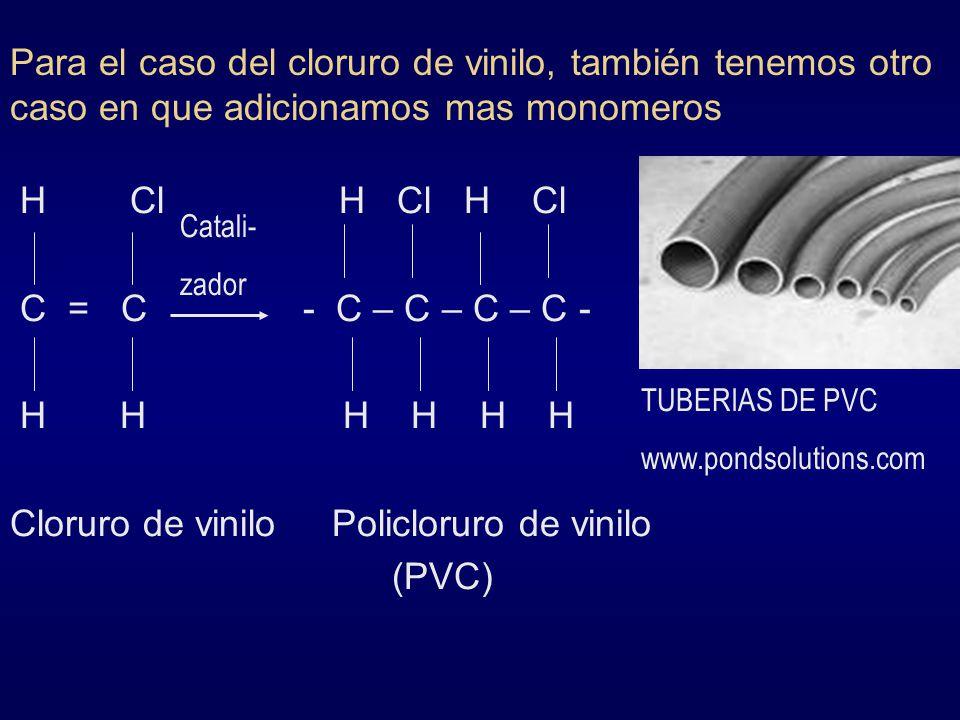 Para el caso del cloruro de vinilo, también tenemos otro caso en que adicionamos mas monomeros H Cl H Cl H Cl C = C - C – C – C – C - H H H H H H Clor