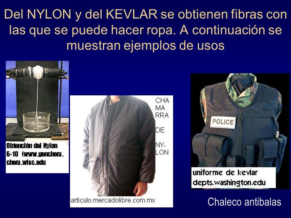 Del NYLON y del KEVLAR se obtienen fibras con las que se puede hacer ropa. A continuación se muestran ejemplos de usos Chaleco antibalas