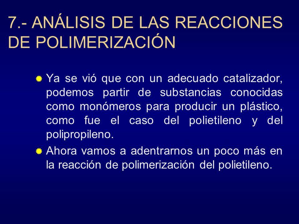 7.- ANÁLISIS DE LAS REACCIONES DE POLIMERIZACIÓN Ya se vió que con un adecuado catalizador, podemos partir de substancias conocidas como monómeros par