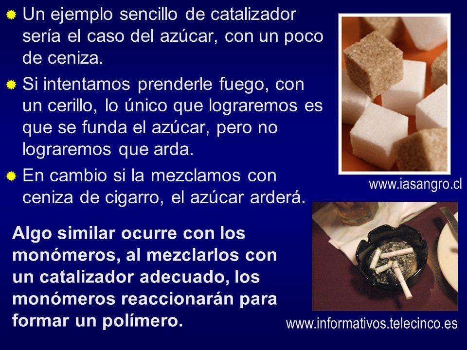 Un ejemplo sencillo de catalizador sería el caso del azúcar, con un poco de ceniza. Si intentamos prenderle fuego, con un cerillo, lo único que lograr