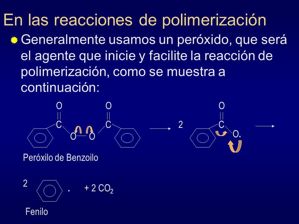 En las reacciones de polimerización Generalmente usamos un peróxido, que será el agente que inicie y facilite la reacción de polimerización, como se m