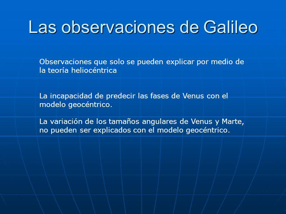 Las observaciones de Galileo Observaciones que solo se pueden explicar por medio de la teoría heliocéntrica La incapacidad de predecir las fases de Ve