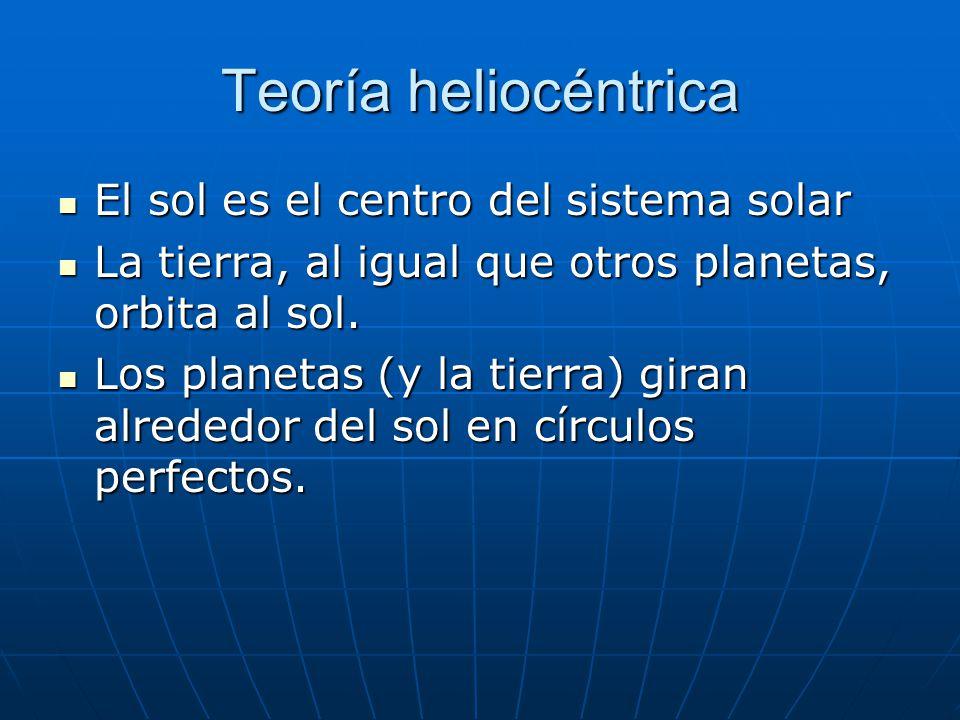 Teoría heliocéntrica El sol es el centro del sistema solar El sol es el centro del sistema solar La tierra, al igual que otros planetas, orbita al sol