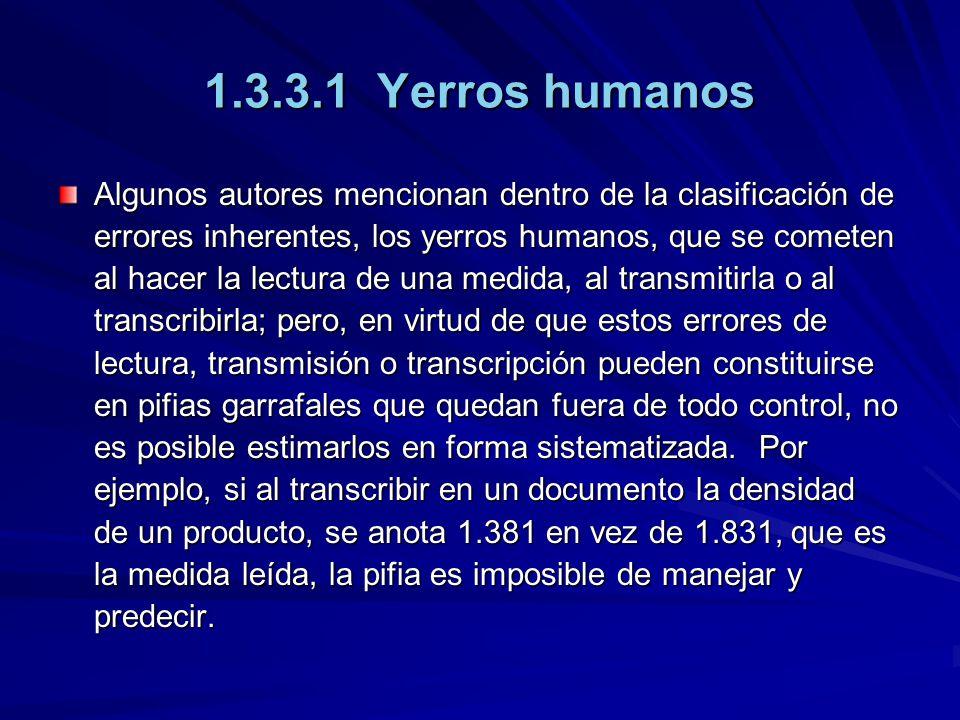 1.3.3.1 Yerros humanos Algunos autores mencionan dentro de la clasificación de errores inherentes, los yerros humanos, que se cometen al hacer la lect