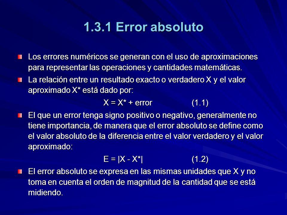 1.3.1 Error absoluto Los errores numéricos se generan con el uso de aproximaciones para representar las operaciones y cantidades matemáticas. La relac