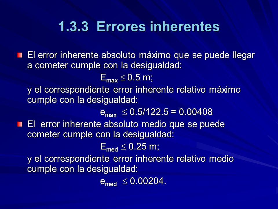 El error inherente absoluto máximo que se puede llegar a cometer cumple con la desigualdad: E max 0.5 m; y el correspondiente error inherente relativo máximo cumple con la desigualdad: e max 0.5/122.5 = 0.00408 El error inherente absoluto medio que se puede cometer cumple con la desigualdad: E med 0.25 m; y el correspondiente error inherente relativo medio cumple con la desigualdad: e med 0.00204.