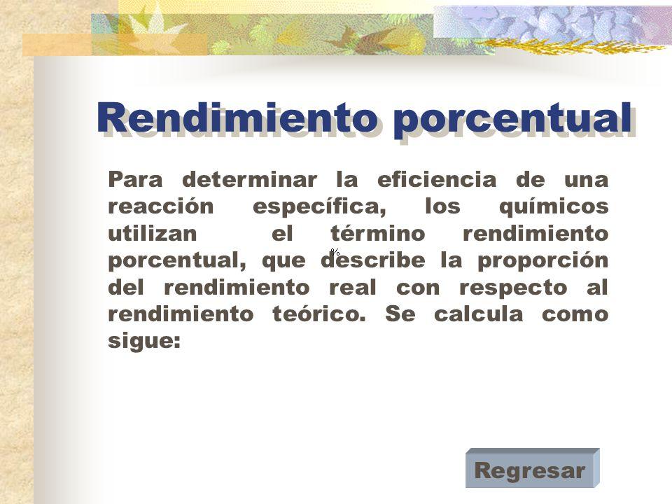 Rendimiento experimental Es aquél que se obtiene después de un proceso de reacción y que se ve afectado por todas aquellas variables que afectan a dicho proceso, por ejemplo, la presión, la temperatura, el error que involucra la medición de las cantidades de reactivosAntecedentes, la pureza de los mismos, etc.