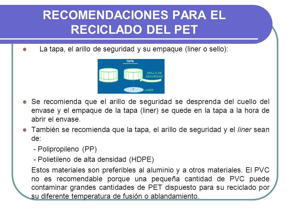 RECOMENDACIONES PARA EL RECICLADO DEL PET La tapa, el arillo de seguridad y su empaque (liner o sello): Se recomienda que el arillo de seguridad se de