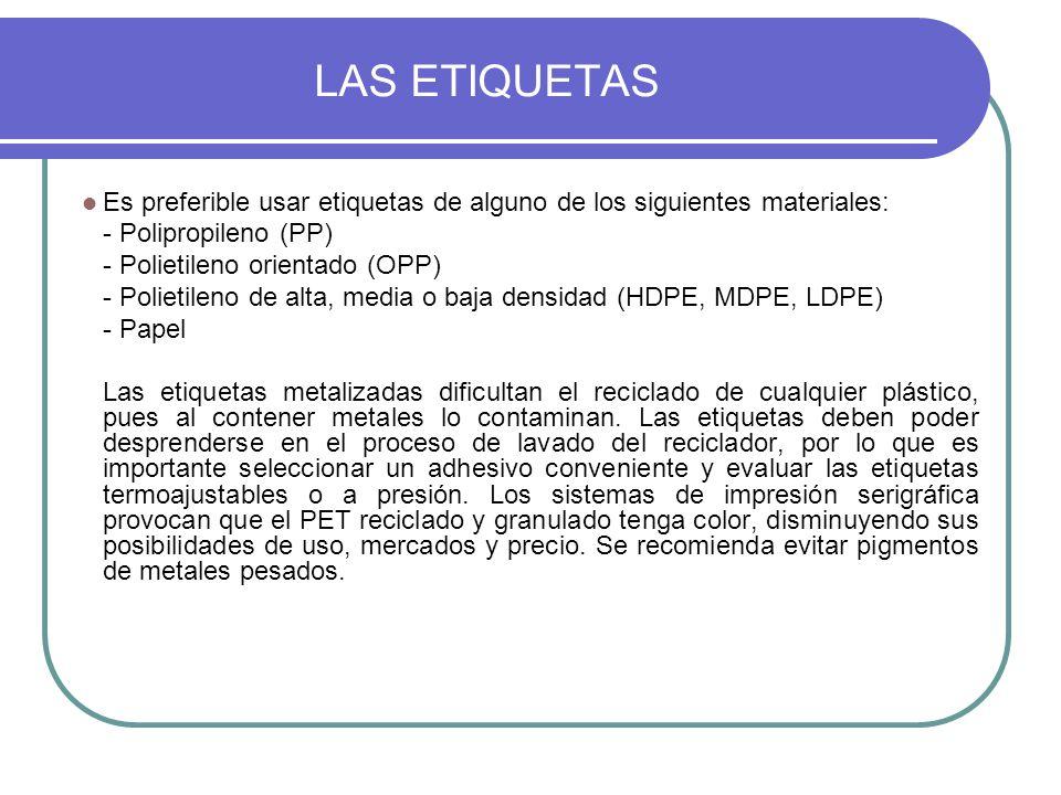 LAS ETIQUETAS Es preferible usar etiquetas de alguno de los siguientes materiales: - Polipropileno (PP) - Polietileno orientado (OPP) - Polietileno de