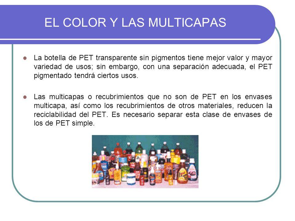 EL COLOR Y LAS MULTICAPAS La botella de PET transparente sin pigmentos tiene mejor valor y mayor variedad de usos; sin embargo, con una separación ade