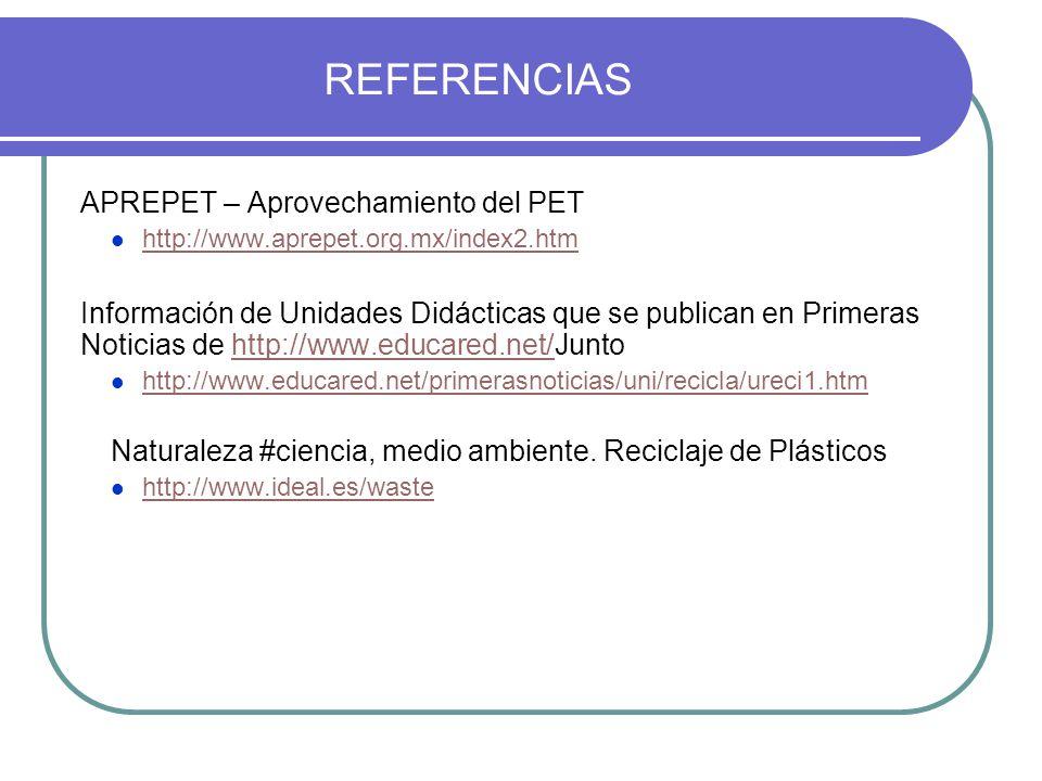 REFERENCIAS APREPET – Aprovechamiento del PET http://www.aprepet.org.mx/index2.htm Información de Unidades Didácticas que se publican en Primeras Noti