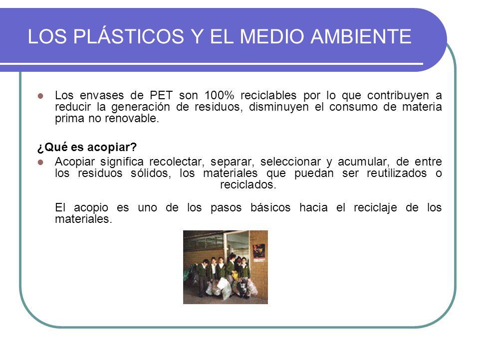 Los envases de PET son 100% reciclables por lo que contribuyen a reducir la generación de residuos, disminuyen el consumo de materia prima no renovabl