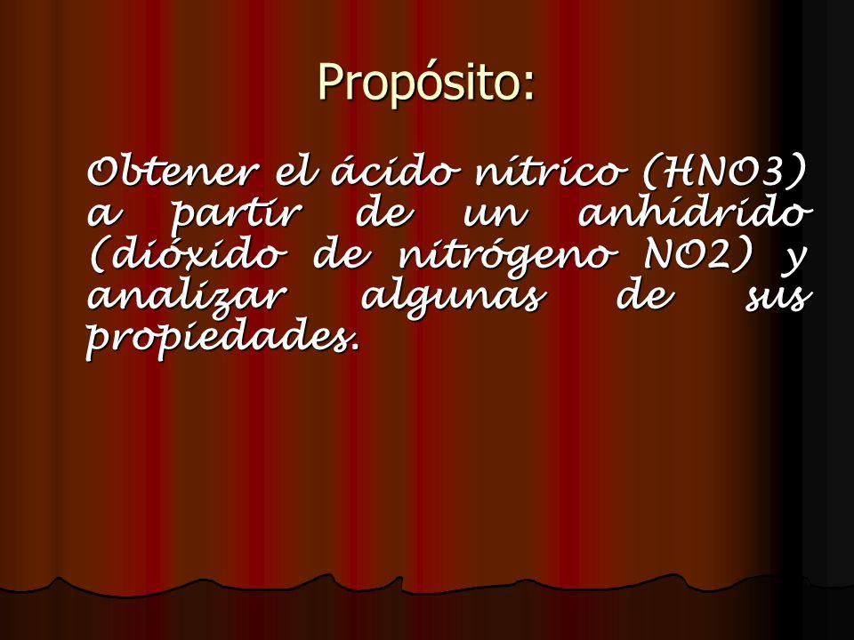 Propósito: Obtener el ácido nítrico (HNO3) a partir de un anhídrido (dióxido de nitrógeno NO2) y analizar algunas de sus propiedades.