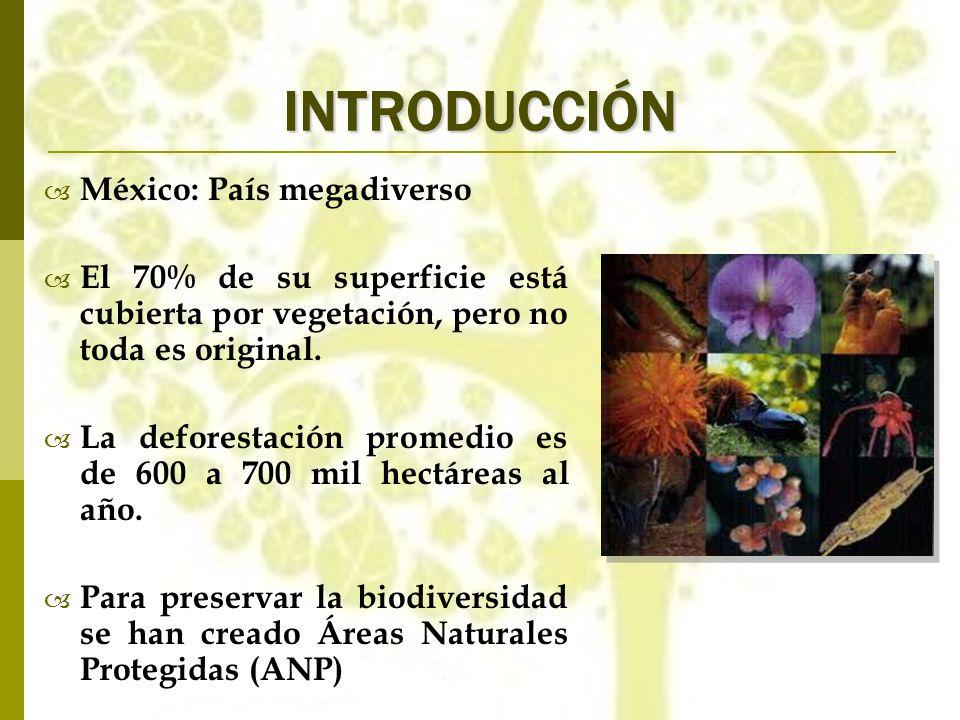 INTRODUCCIÓN México: País megadiverso El 70% de su superficie está cubierta por vegetación, pero no toda es original. La deforestación promedio es de