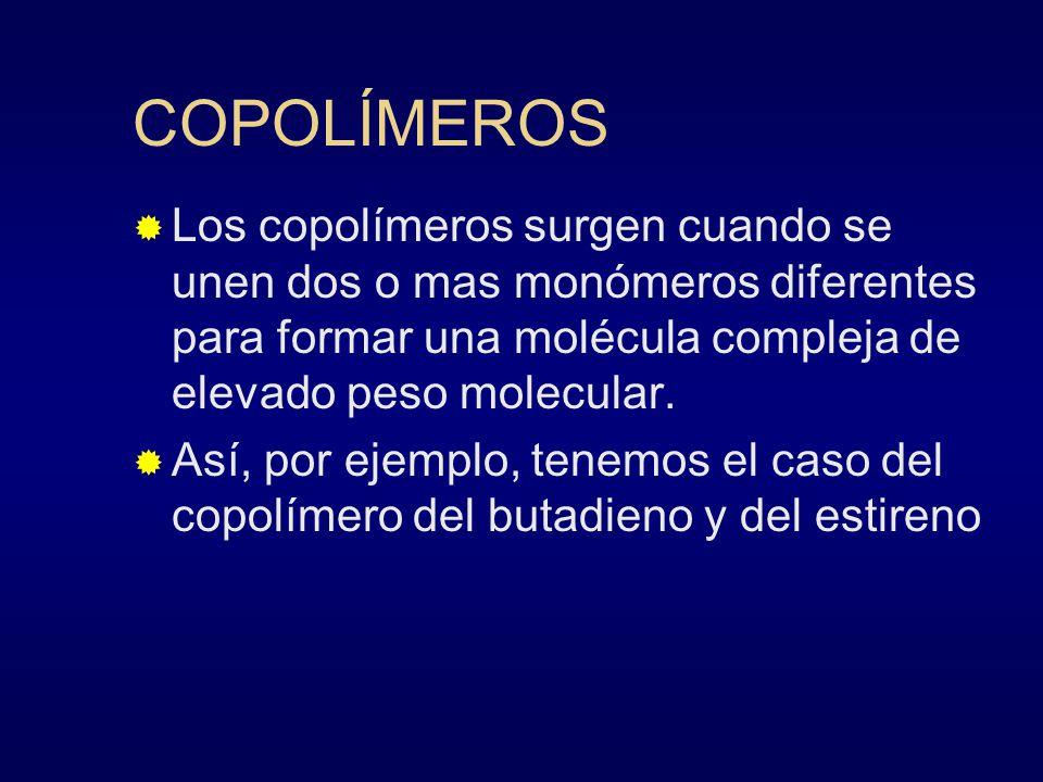 COPOLÍMEROS Los copolímeros surgen cuando se unen dos o mas monómeros diferentes para formar una molécula compleja de elevado peso molecular. Así, por