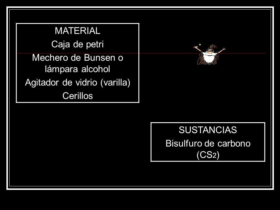 MATERIAL Caja de petri Mechero de Bunsen o lámpara alcohol Agitador de vidrio (varilla) Cerillos SUSTANCIAS Bisulfuro de carbono (CS 2 )