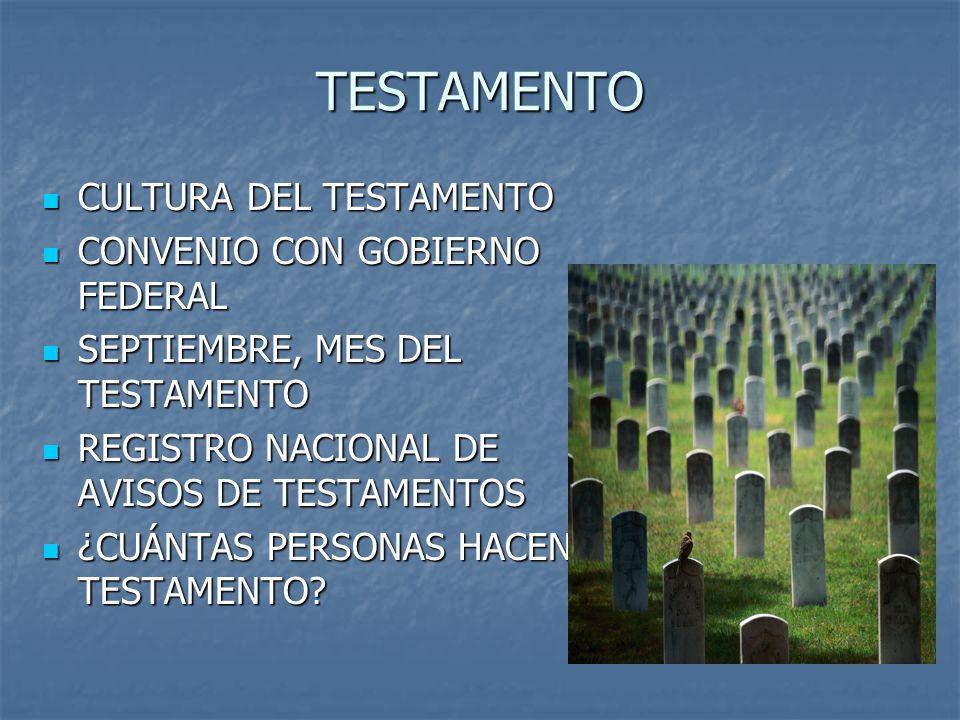 TESTAMENTO CULTURA DEL TESTAMENTO CULTURA DEL TESTAMENTO CONVENIO CON GOBIERNO FEDERAL CONVENIO CON GOBIERNO FEDERAL SEPTIEMBRE, MES DEL TESTAMENTO SE
