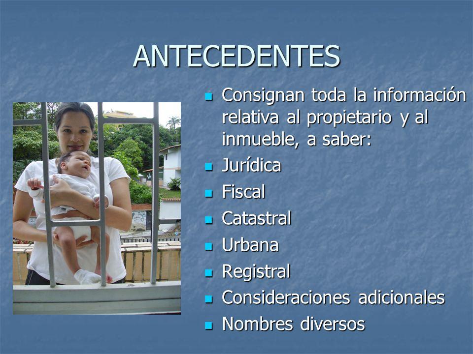 ANTECEDENTES Consignan toda la información relativa al propietario y al inmueble, a saber: Consignan toda la información relativa al propietario y al