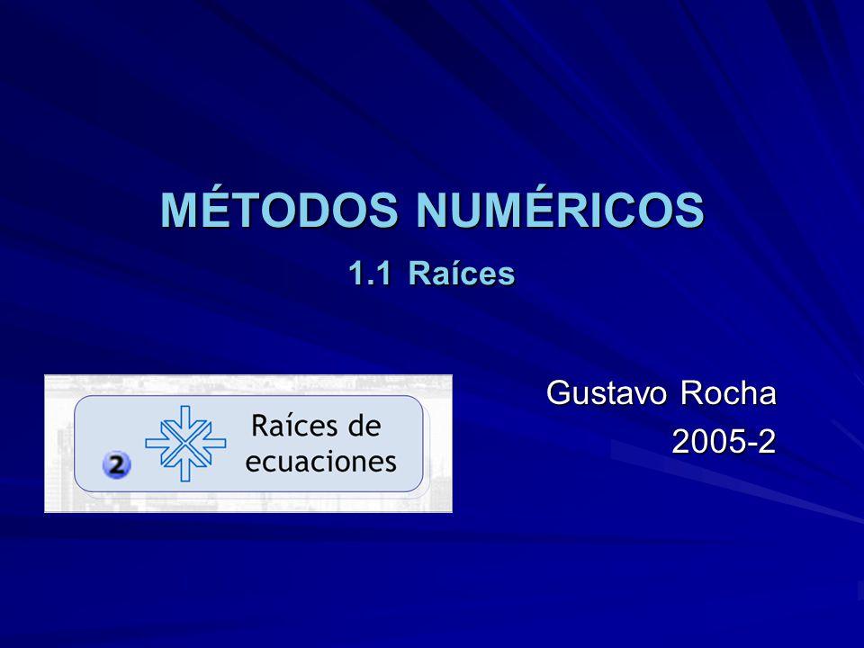 MÉTODOS NUMÉRICOS 1.1 Raíces Gustavo Rocha 2005-2
