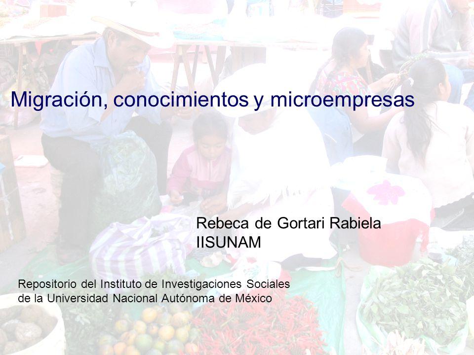 Migración, conocimientos y microempresa Rebeca de Gortari Rabiela IISUNAM Migración, conocimientos y microempresas Rebeca de Gortari Rabiela IISUNAM Repositorio del Instituto de Investigaciones Sociales de la Universidad Nacional Autónoma de México