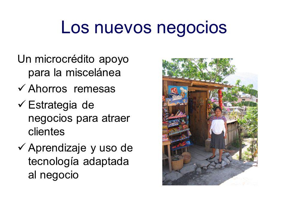Los nuevos negocios Un microcrédito apoyo para la miscelánea Ahorros remesas Estrategia de negocios para atraer clientes Aprendizaje y uso de tecnología adaptada al negocio