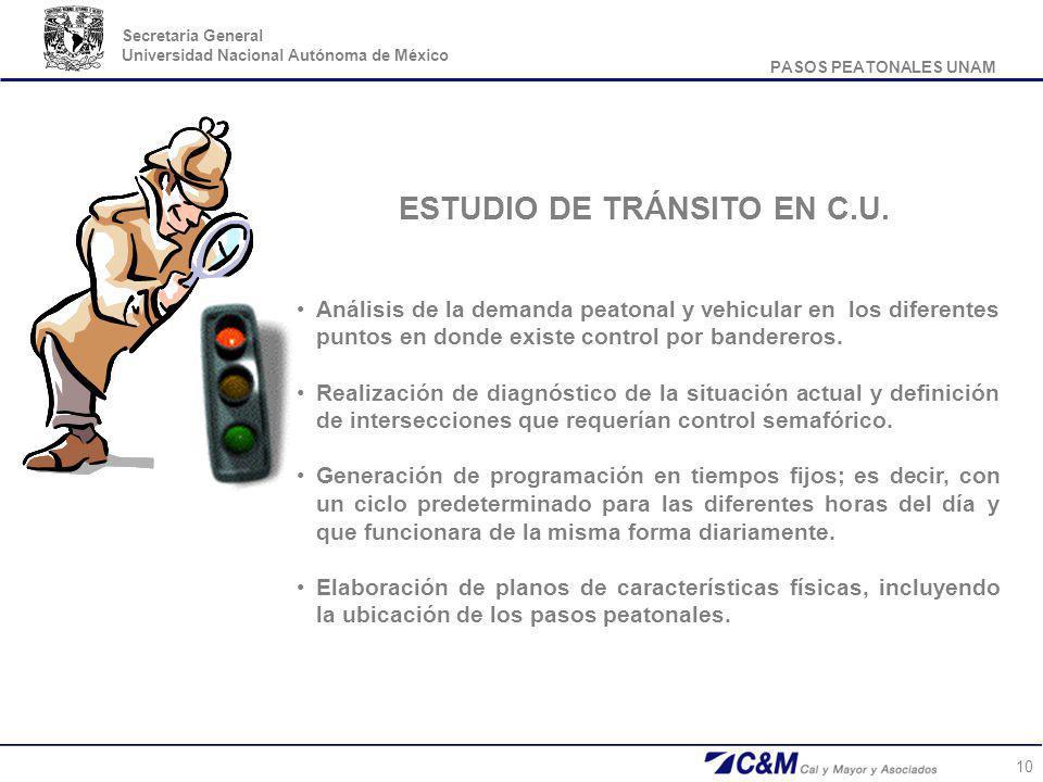 PASOS PEATONALES UNAM Secretaria General Universidad Nacional Autónoma de México 10 Análisis de la demanda peatonal y vehicular en los diferentes punt
