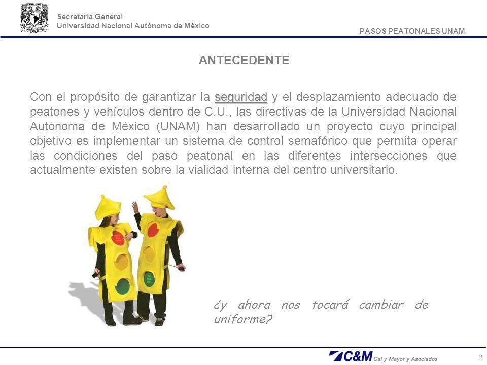 PASOS PEATONALES UNAM Secretaria General Universidad Nacional Autónoma de México 2 ANTECEDENTE seguridad Con el propósito de garantizar la seguridad y