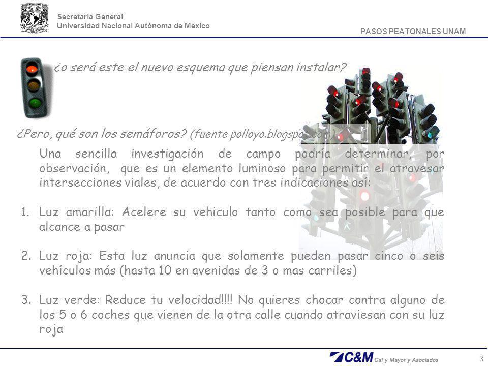PASOS PEATONALES UNAM Secretaria General Universidad Nacional Autónoma de México 3 ¿o será este el nuevo esquema que piensan instalar? ¿Pero, qué son