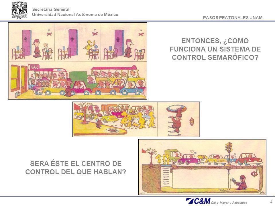 PASOS PEATONALES UNAM Secretaria General Universidad Nacional Autónoma de México 5 Los semáforos son dispositivos de señalización que regulan la circulación de vehículos, bicicletas y peatones en vías, asignando el derecho de paso de manera alternada, por las indicaciones de luces de color rojo, amarillo y verde, operadas por una unidad electrónica de control.