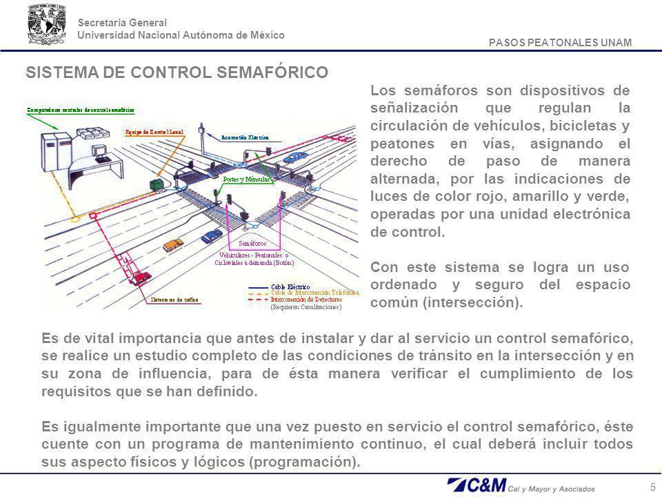 PASOS PEATONALES UNAM Secretaria General Universidad Nacional Autónoma de México 5 Los semáforos son dispositivos de señalización que regulan la circu