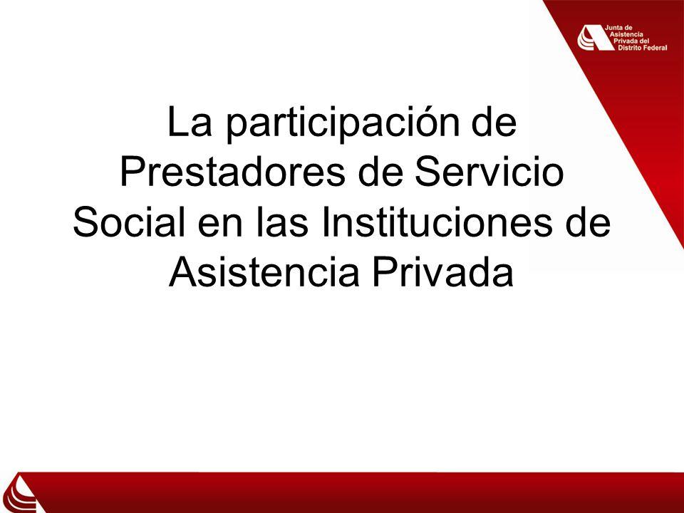 La participación de Prestadores de Servicio Social en las Instituciones de Asistencia Privada