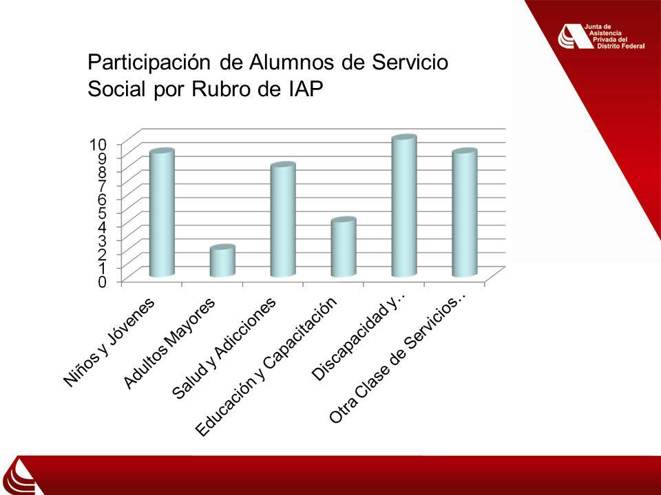 Participación de Alumnos de Servicio Social por Rubro de IAP