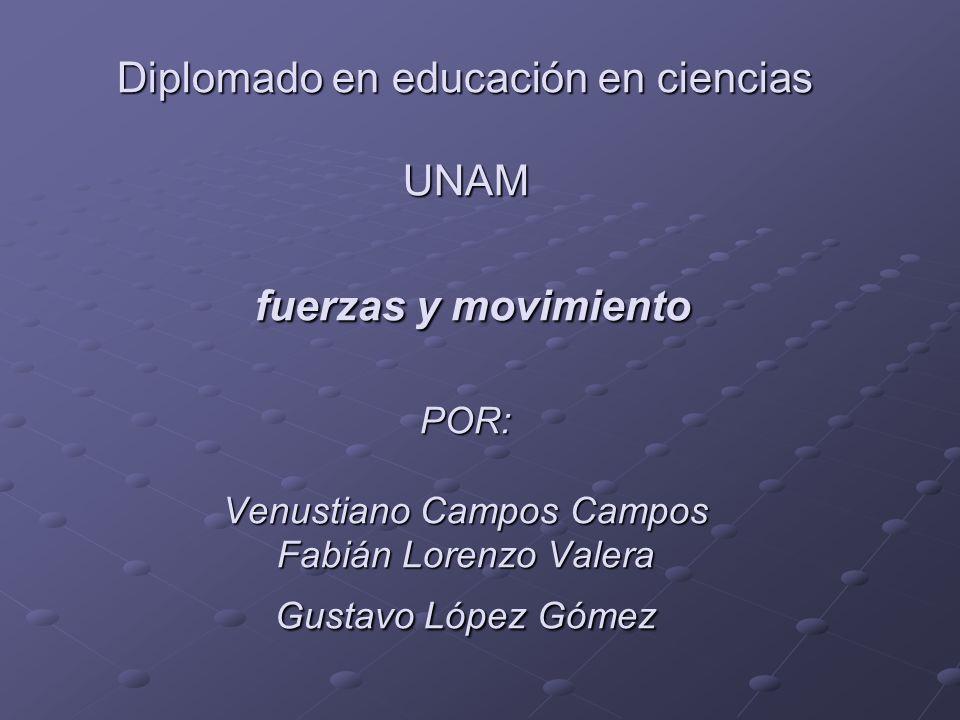 Diplomado en educación en ciencias UNAM fuerzas y movimiento POR: Venustiano Campos Campos Fabián Lorenzo Valera Gustavo López Gómez