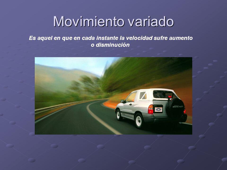 Movimiento variado Es aquel en que en cada instante la velocidad sufre aumento o disminución