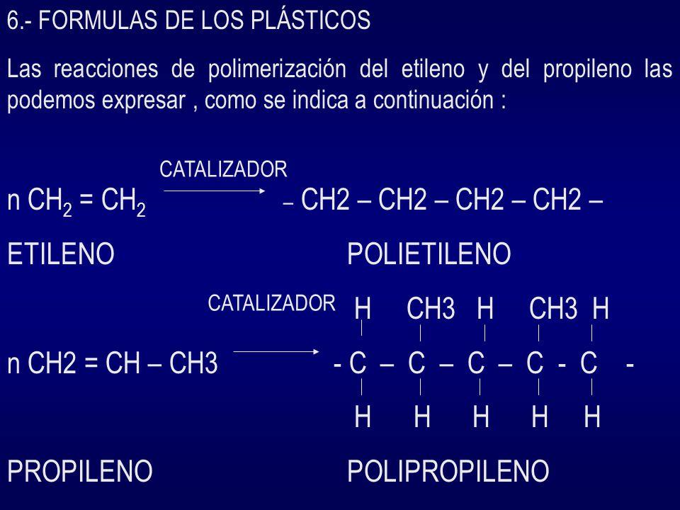 6.- FORMULAS DE LOS PLÁSTICOS Las reacciones de polimerización del etileno y del propileno las podemos expresar, como se indica a continuación : n CH