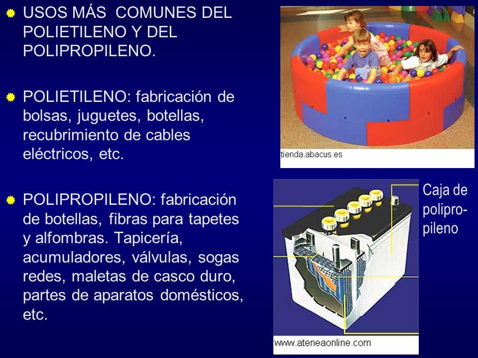USOS MÁS COMUNES DEL POLIETILENO Y DEL POLIPROPILENO. POLIETILENO: fabricación de bolsas, juguetes, botellas, recubrimiento de cables eléctricos, etc.