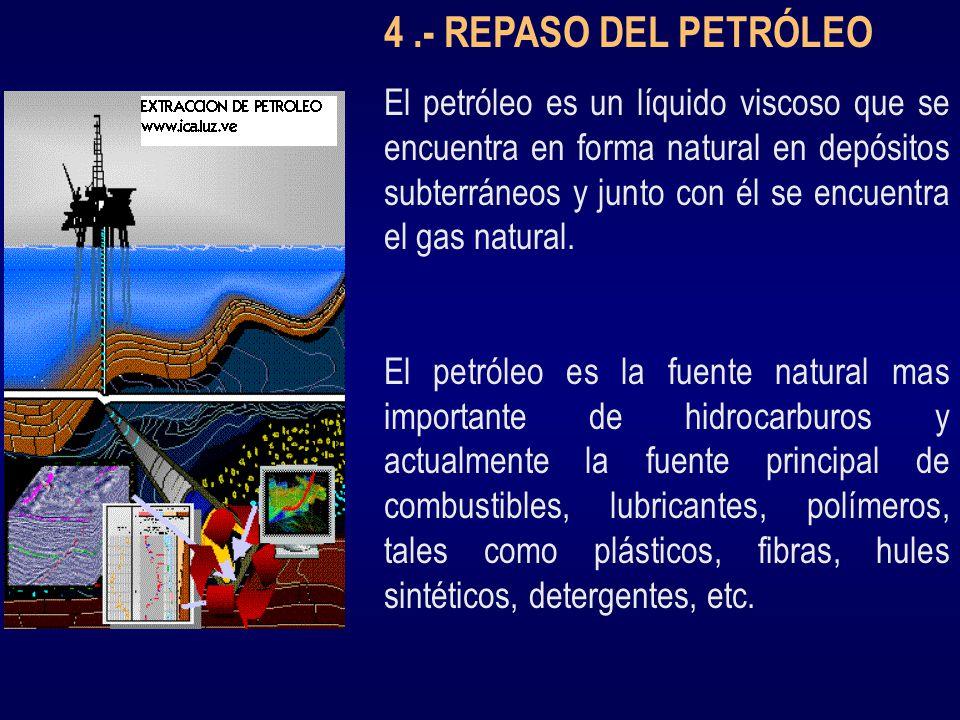 4.- REPASO DEL PETRÓLEO El petróleo es un líquido viscoso que se encuentra en forma natural en depósitos subterráneos y junto con él se encuentra el g