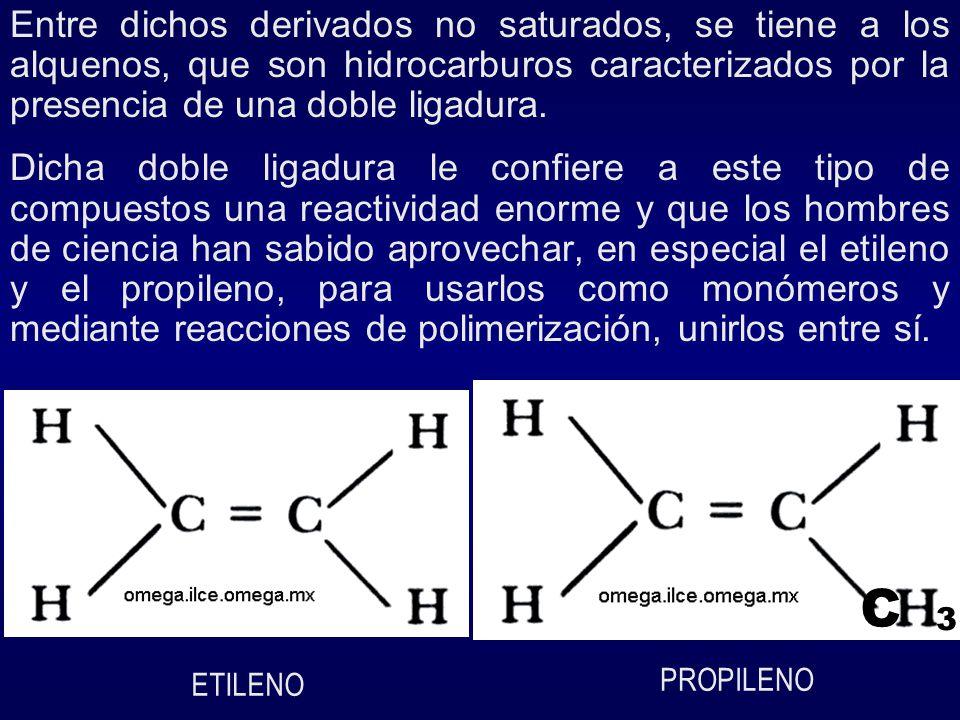 El etileno: CH2 = CH2, es el hidrocarburo no saturado mas sencillo, de la familia de los alquenos, que se obtiene por pirolisis del petróleo a partir del etano, con la consecuente eliminación de dos átomos de hidrógeno: CH3 – CH3 CH2 = CH2 + H2 Etano calor etileno hidrógeno El propileno, es otro hidrocarburo no saturado, obtenido al igual que el polietileno a partir del alcano conocido como propano.