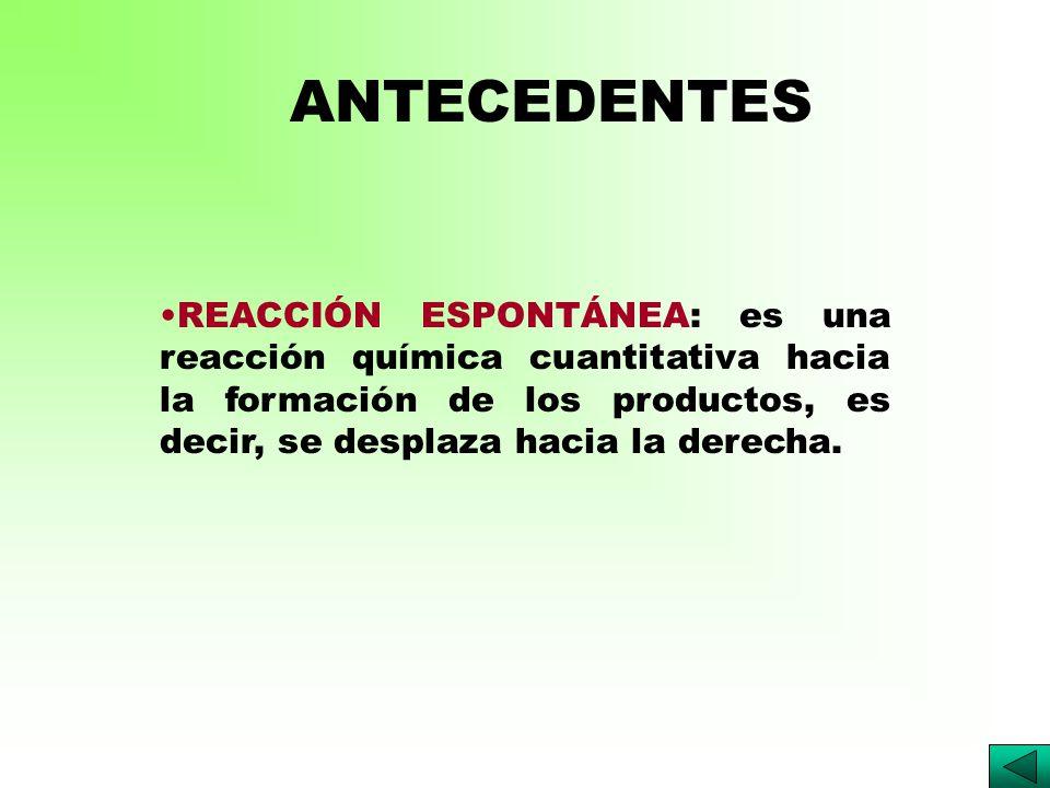 REACCIÓN ESPONTÁNEA: es una reacción química cuantitativa hacia la formación de los productos, es decir, se desplaza hacia la derecha.