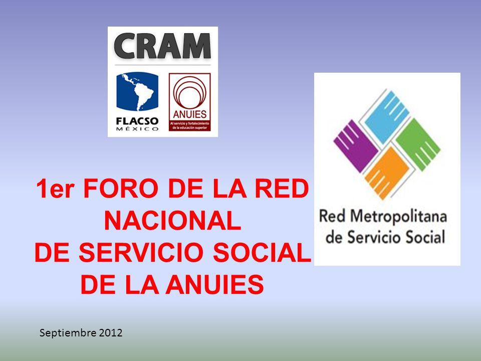 1er FORO DE LA RED NACIONAL DE SERVICIO SOCIAL DE LA ANUIES Septiembre 2012